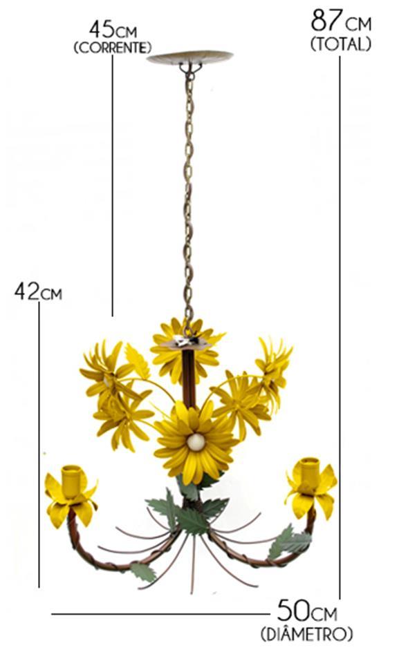 Lustre Artesanal para Quarto com Flores de Ferro e Lata 03 Bocais