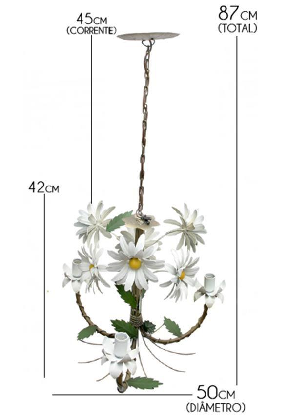 Luminária de Teto Artesanal Para Sala de Jantar com Flores 03 Bocas