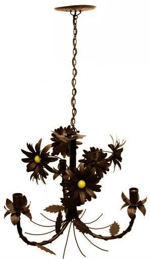 Lustre Rustico Sala de Estar Pendente com Flores Ouro Antigo 03 Braços