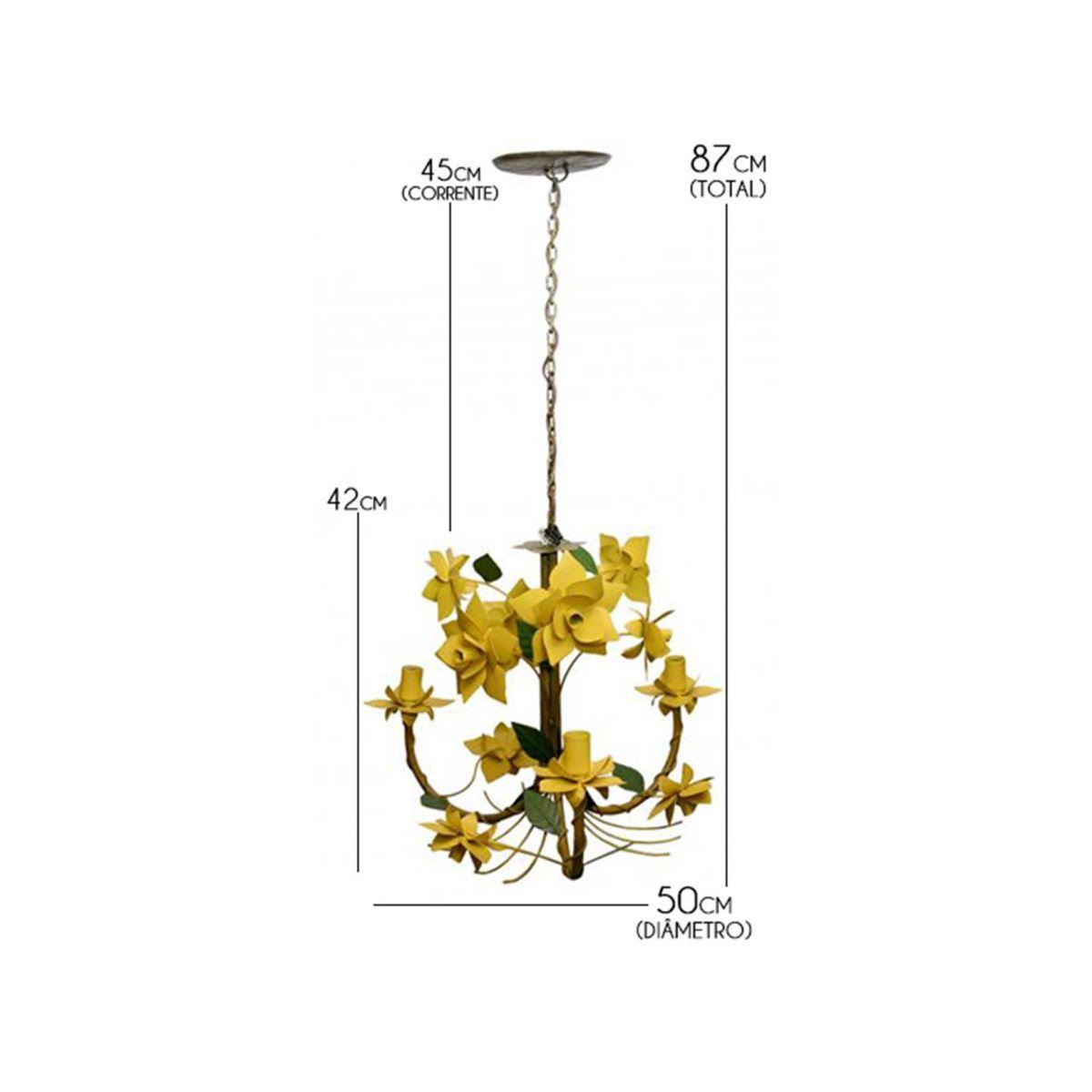 Lustre Artesanal para Varanda Rustico de Ferro Com Flores 03 Bocas