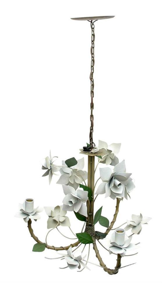 Pendente Artesanal de Ferro com Flores para Area Externa 03 Bocais