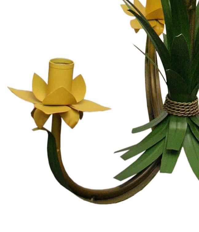 Pendente de Ferro com Flores Artesanal para Quarto de Casal e Solteiro 03 Bocas