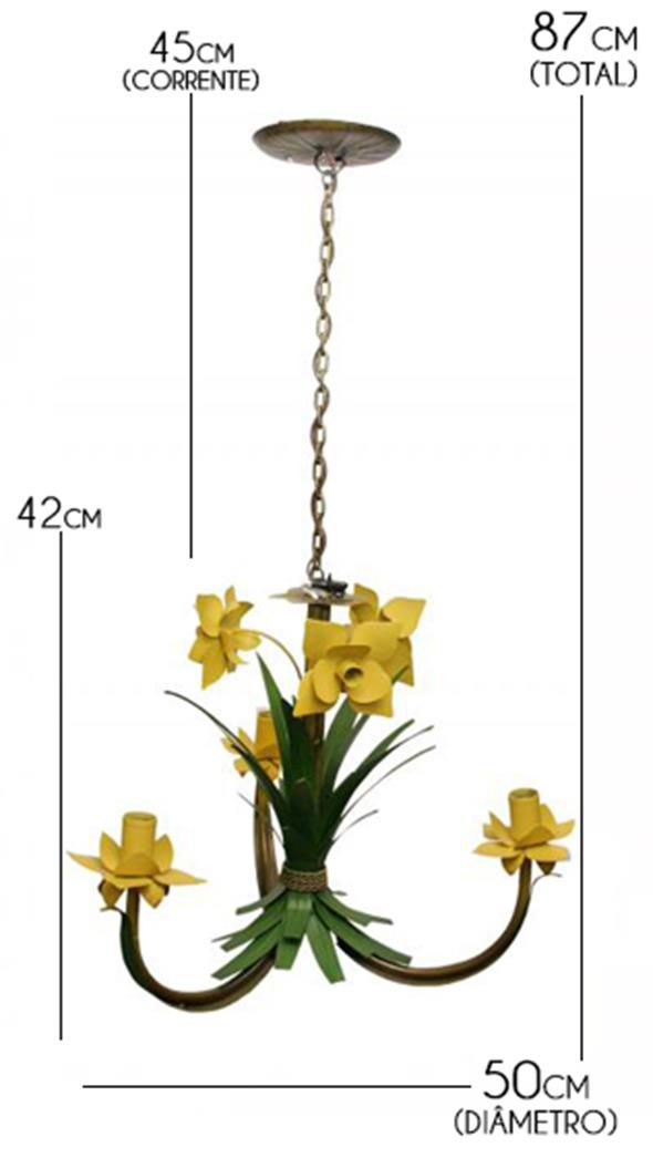 Pendente de Flores Artesanal para Quarto de Casal e Solteiro 03 Bocas
