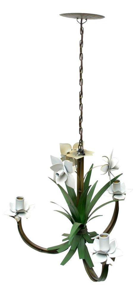 Lustre Artesanal com Flores e Folhas 03 Braços Rustico para Quarto