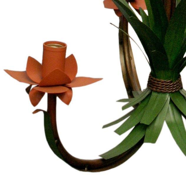 Lustre para Varanda com Flores Artesanal Rustico Decorativo