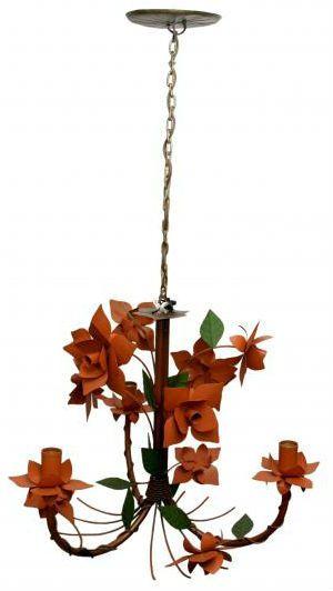 Lustre Artesanal para Sala de Jantar 03 Bocais Flores de Ferro