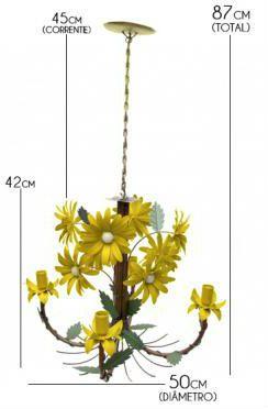 Luminaria Sala de Jantar Rustica em Ferro com Flores com 04 Bocas