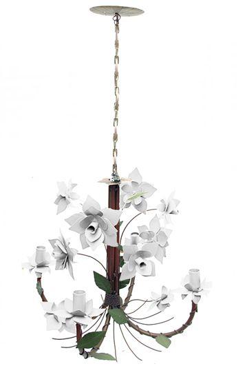 Lustre De Ferro Artesanal Sala Moderna Flores com 04 Bocais