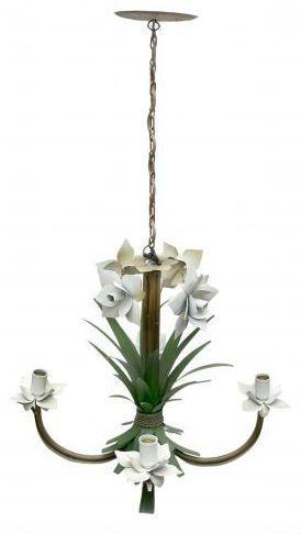 Lustre Artesanal para Quarto de Casal com Flores Rustico de Ferro