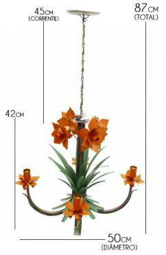 Lustre Artesanal em Ferro para Sala de Estar com Florzinha Simples