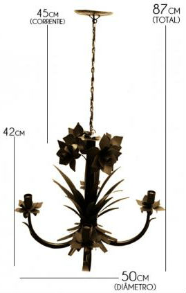 Lustre Rústico Artesanal Sala Moderna 04 Lâmpadas Ouro Antigo