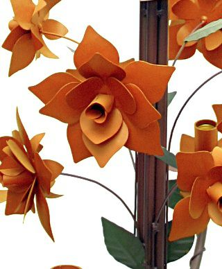 Lustre Rústico Para Sala Estar Artesanal com Rosas de Ferro 4 Bocas