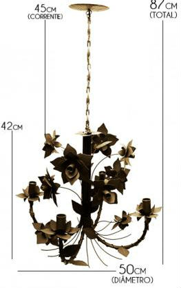 Pendente De Ferro Artesanal Para Quarto Envelhecido 04 Bocais com Flores