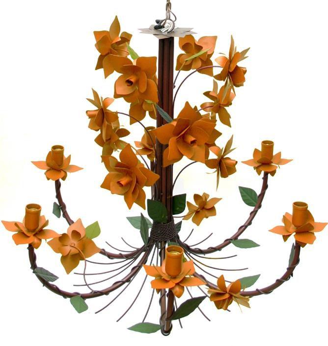 Lustre para Sala Grande Colonial com 06 Bocais de Flores Artesanais