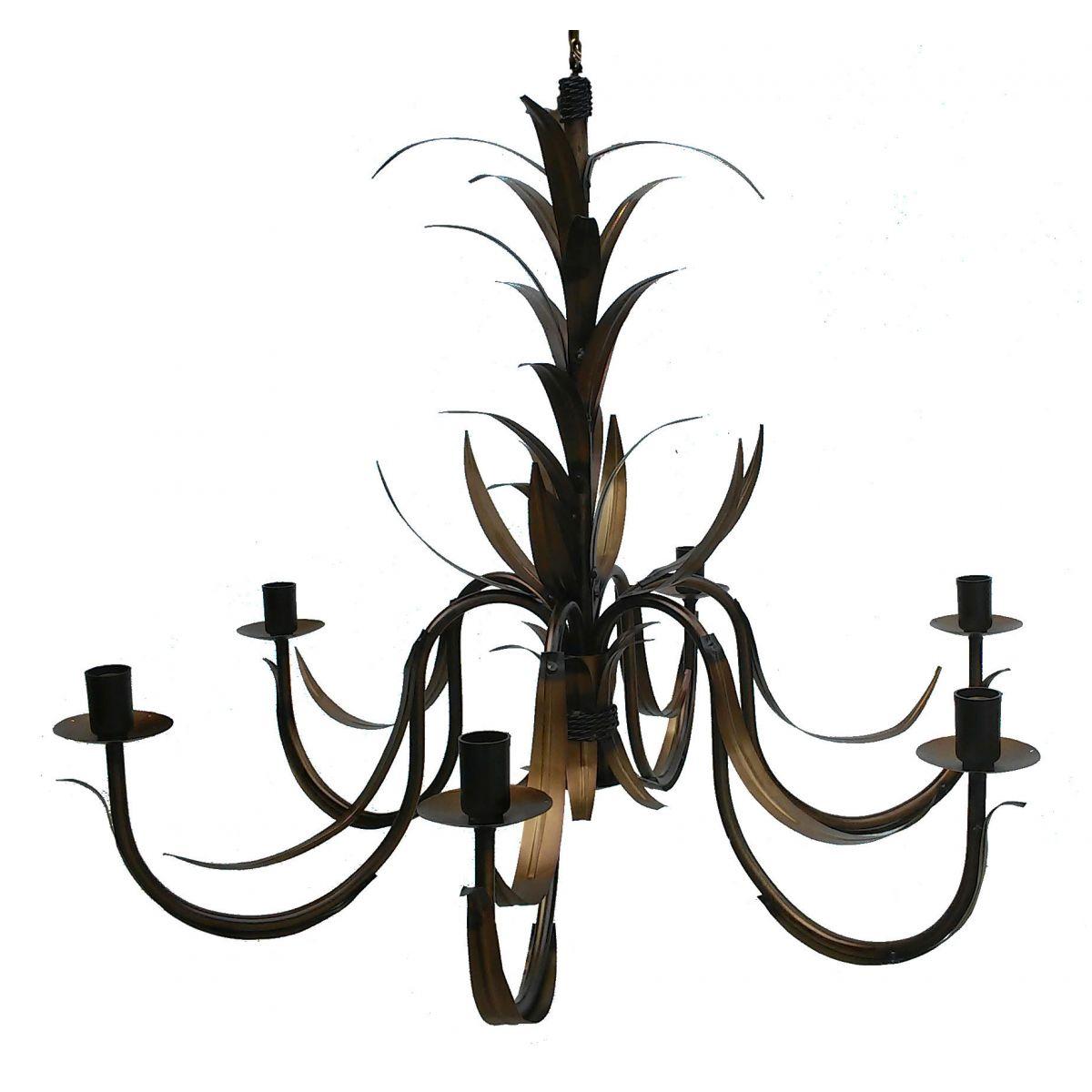 Lustre De Ferro Colonial para Sala Moderna Com Folhas Ouro Antigo