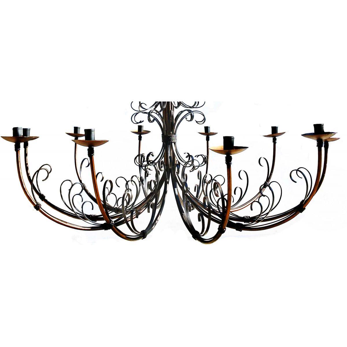 Luminária de Teto Grande em Ferro para Área Rústica cor Verniz 10 Lâmpadas