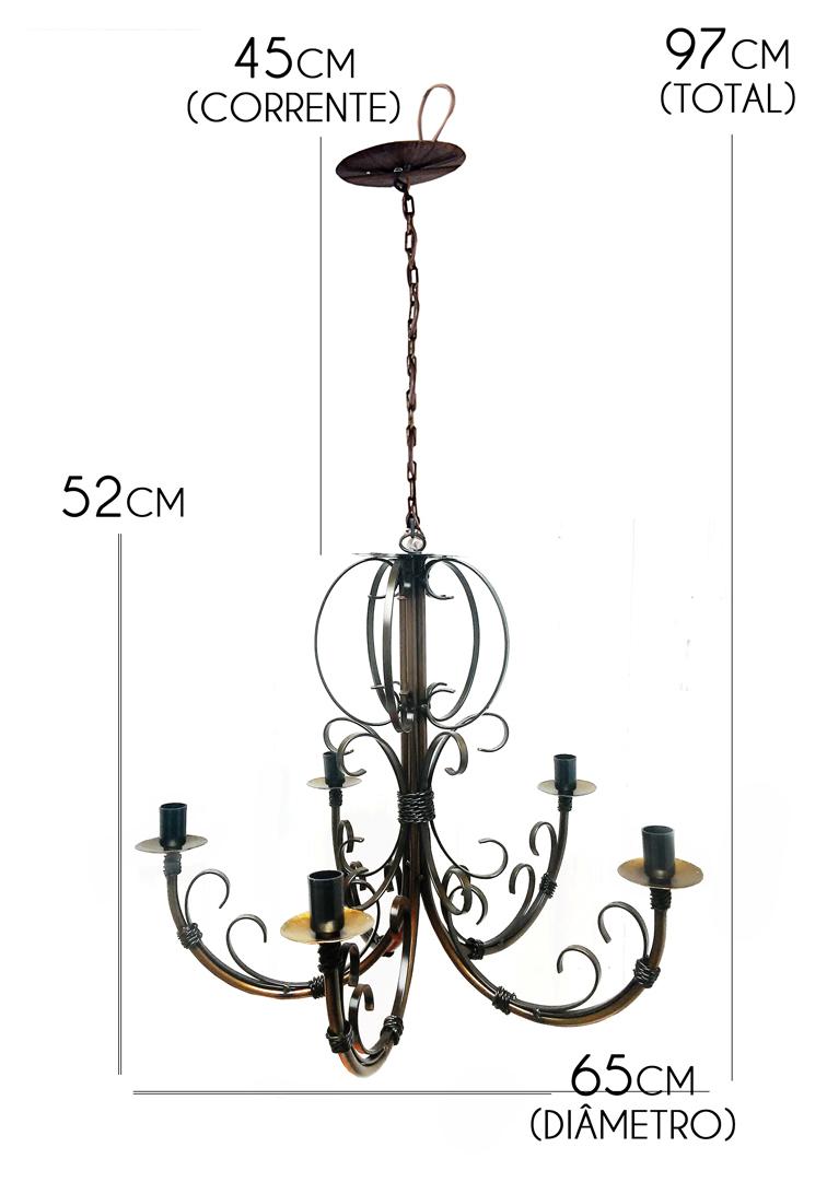 Lustre De Ferro Artesanal Para Sala Moderna Verniz 5 Bocais Rustico