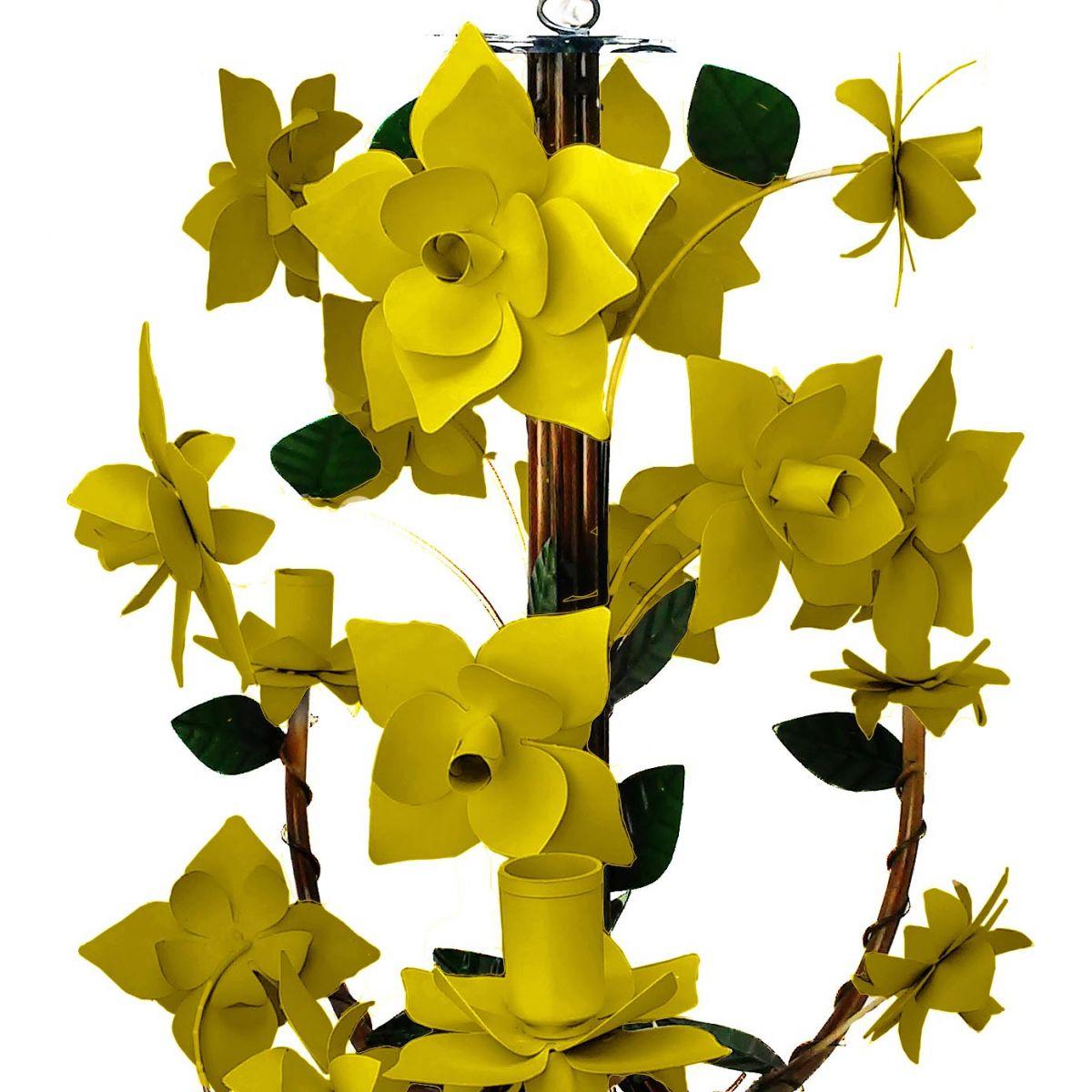 Luminária de Ferro de Teto para Cozinha e Area Gourmet com Flores Artesanal