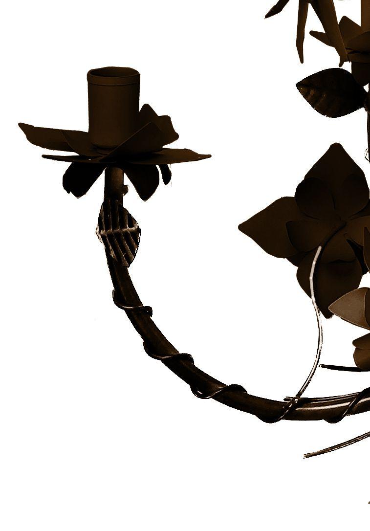 Lustre para Varanda Rustico Artesanal em Ferro e Lata Com Flores