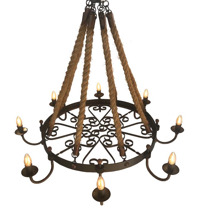 Lustre De Corda Sisal Medieval Artesanal Com Cúpulas Para Iluminação Preço De Fábrica