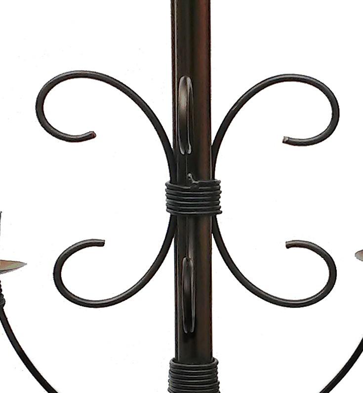 Lustre De Ferro Artesanal Para Sala Moderna cor Verniz 04 Bocais Rustico