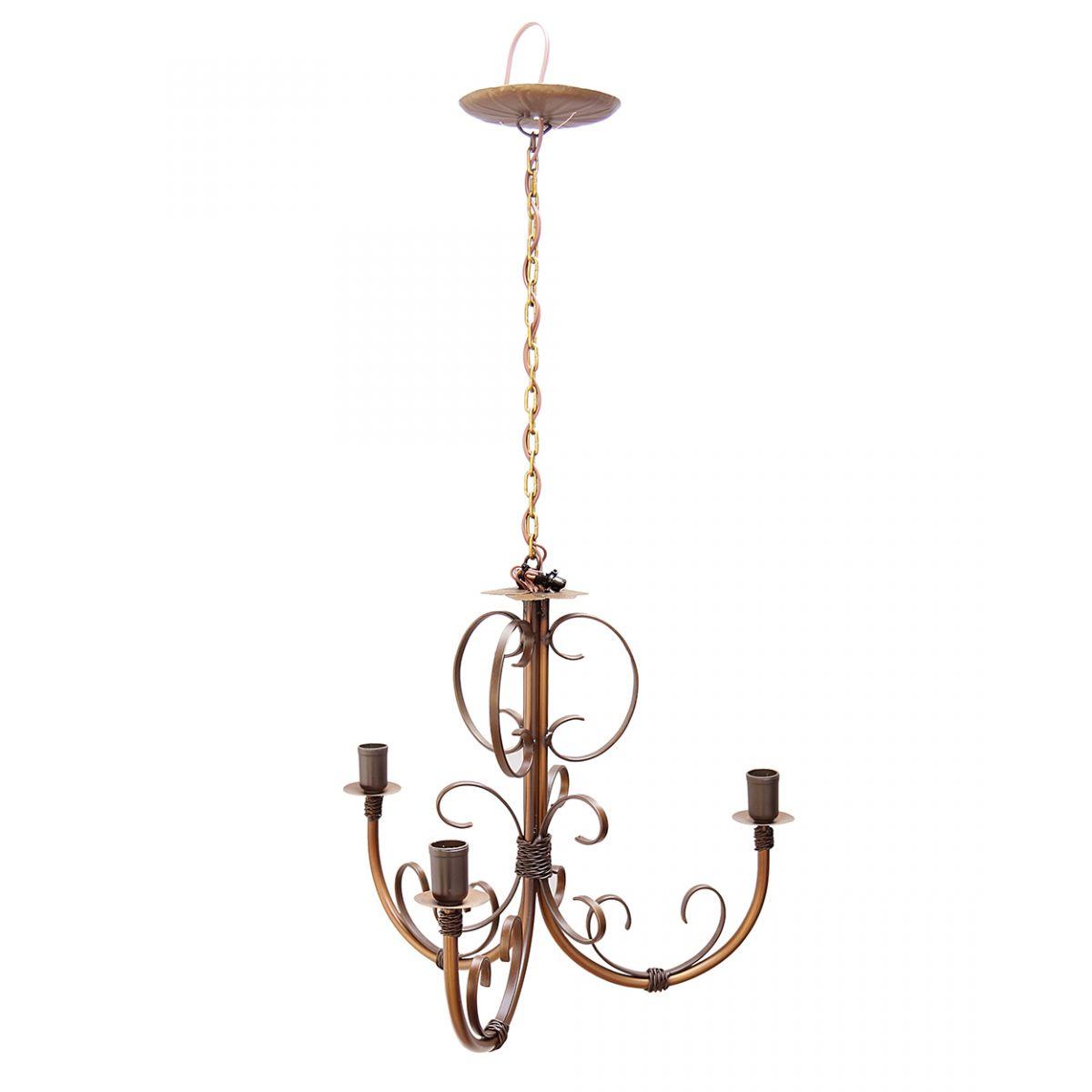 Lustre Ouro Antigo Artesanal Rústico para Sala de Café e Restaurante