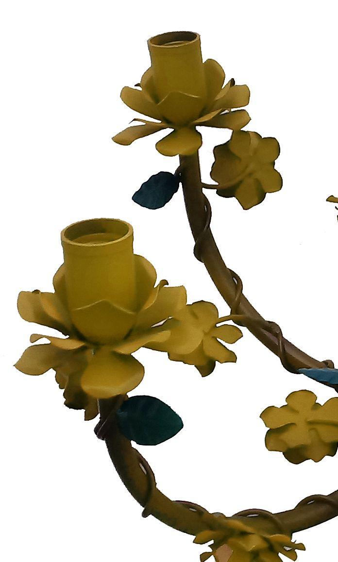 Lustre de Ferro Artesanal Sala de Espera de Escritório com Flores