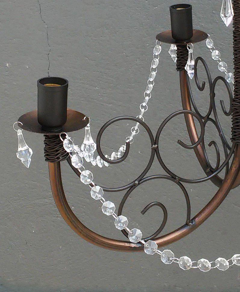 Lustre de Ferro e Cristal para Sala de Jantar Rustico Envelhecido 04 Bocas
