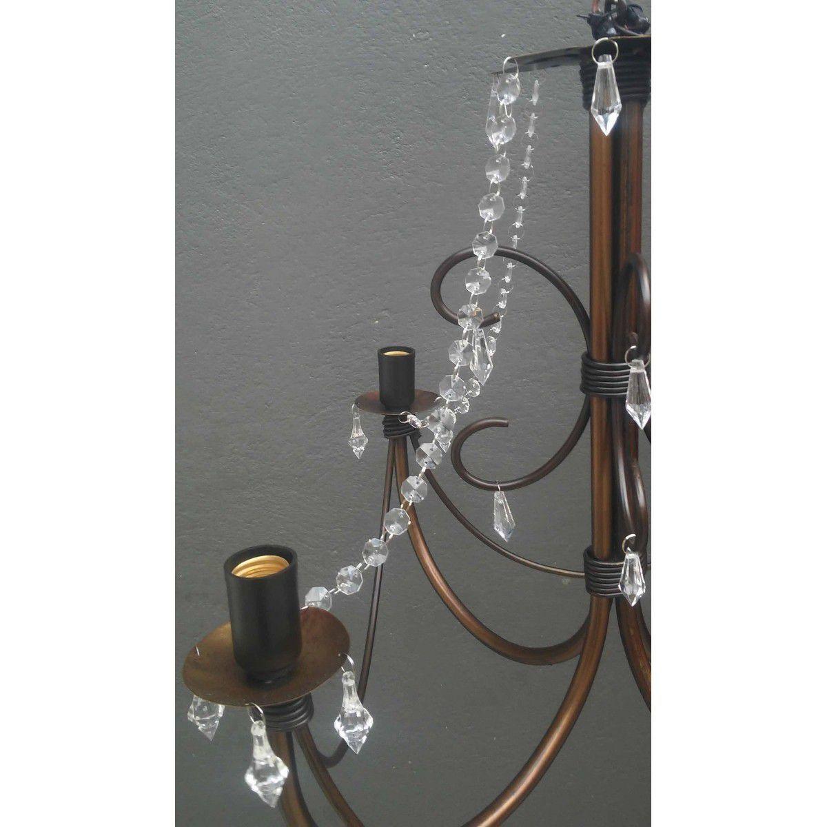 Lustre De Ferro com Cristais Acrilico Rustico Para Sala de Jantar e Cozinha