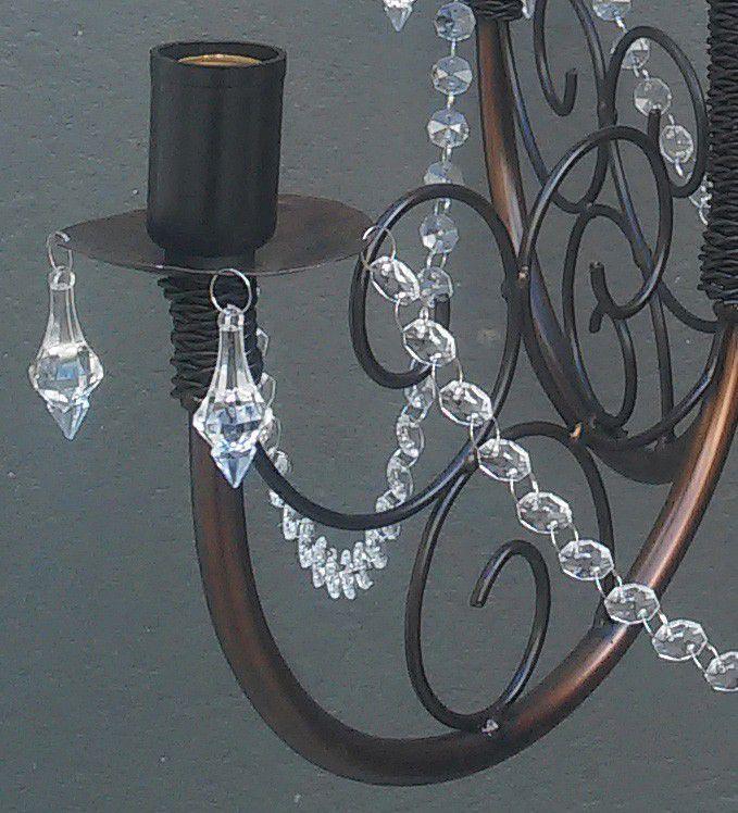 Lustre De Ferro com Cristal Rustico Acrilico Artesanal Para Sala de Estar