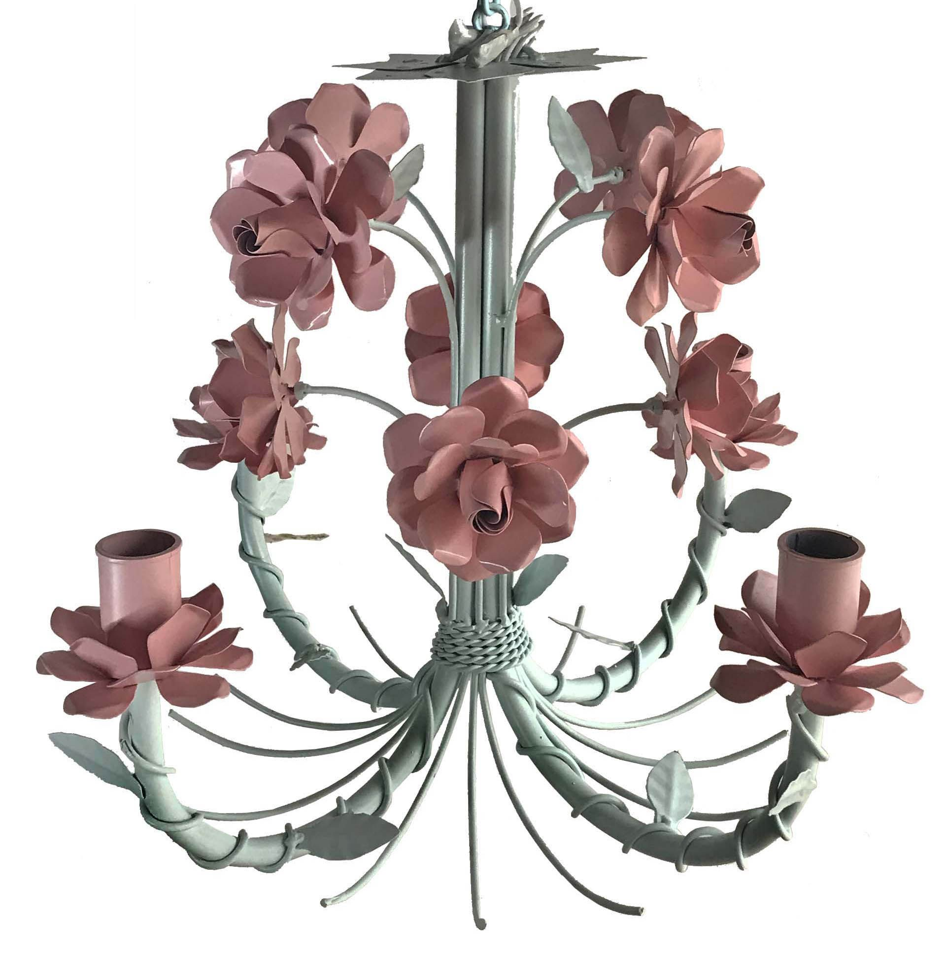 Lustre De Ferro Com Flores Artesanais para Decoração de Sala Vintage