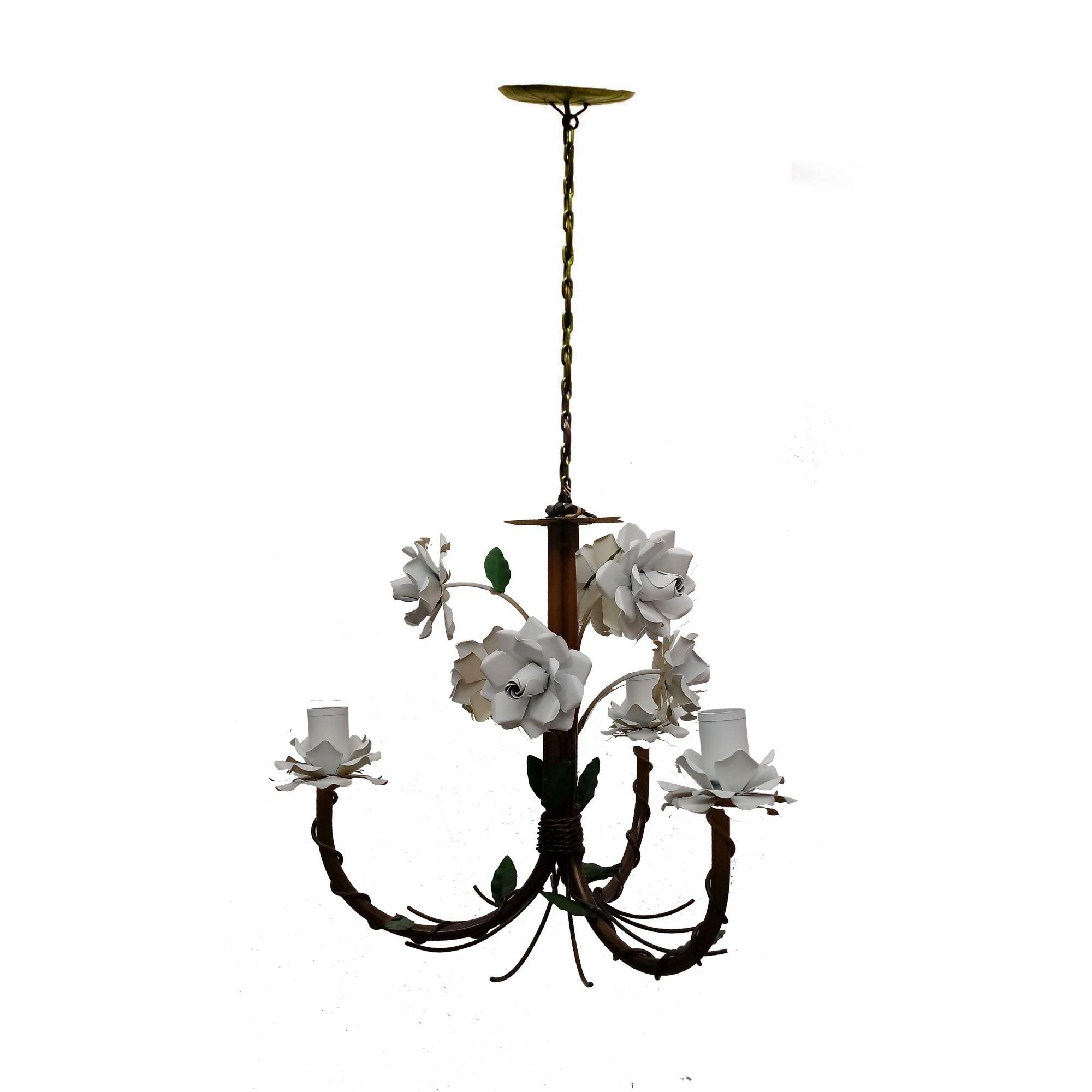Lustre de Ferro com Flores Artesanal Fabricação Própria para Sala