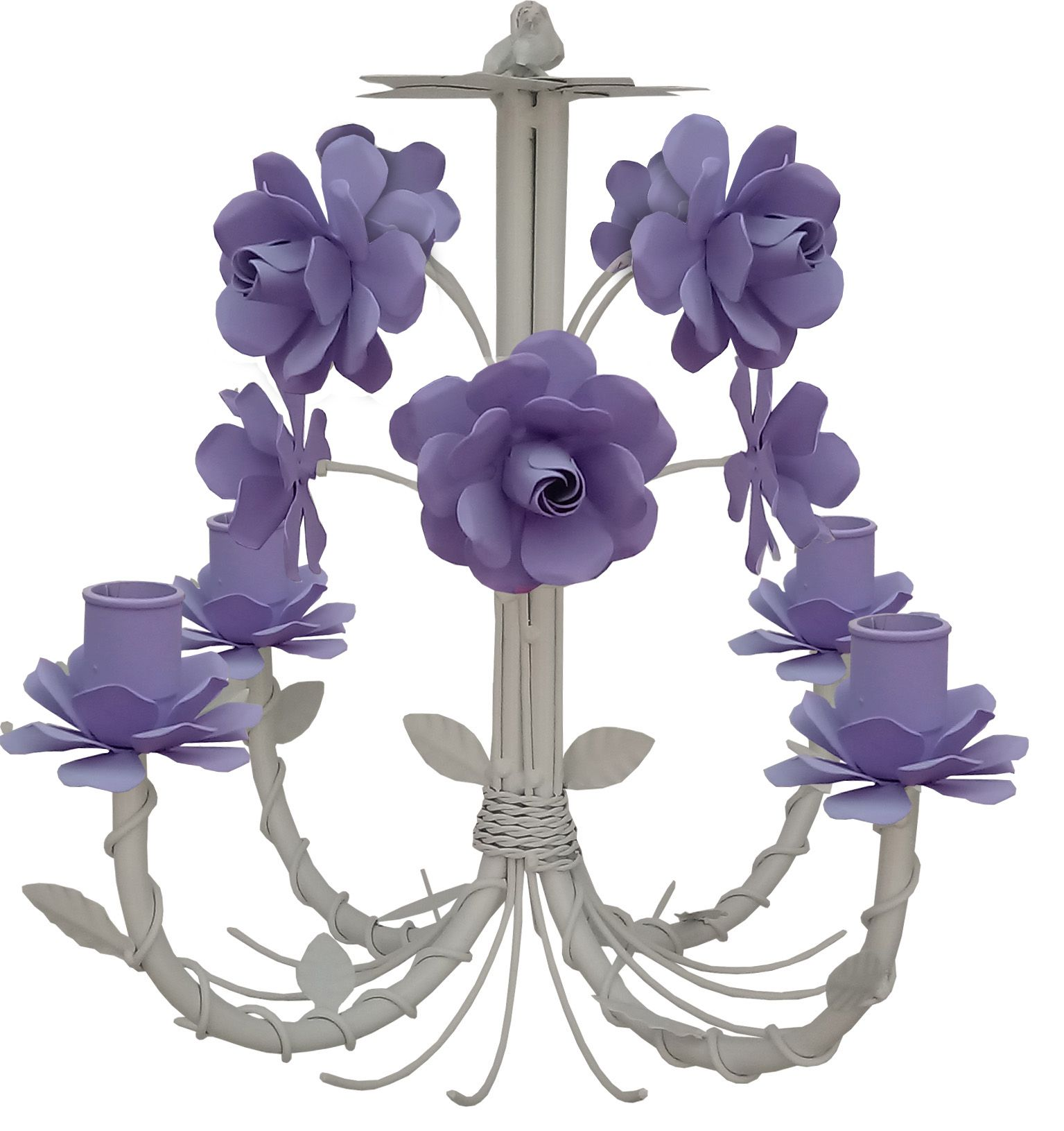 Lustre de Ferro com Rosas Simples para Decoração de Quarto Colorido