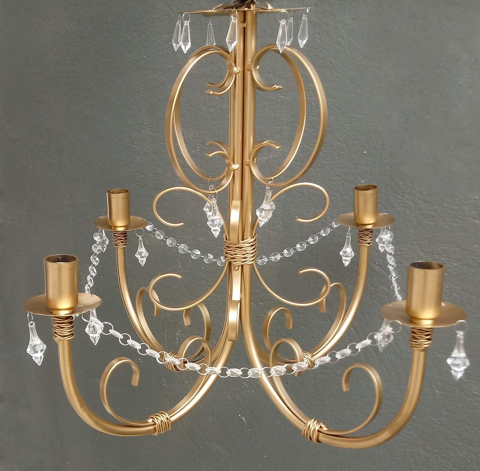 Lustre De Ferro Dourado Com Cristais -> Lustre Para Sala De Jantar Dourado
