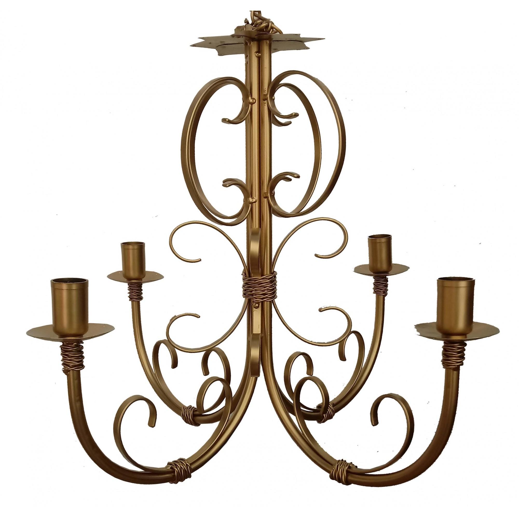 Lustre De Ferro Dourado Rustico -> Lustre Para Sala De Jantar Dourado