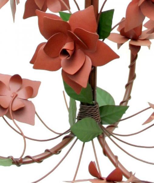 Lustre de Ferro Para Quarto de Casal com Flores Artesanal 03 Bocas