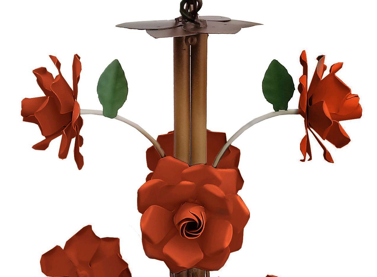 Lustre de Ferro Preço de Fabricante com Flores Artesanais Cozinha