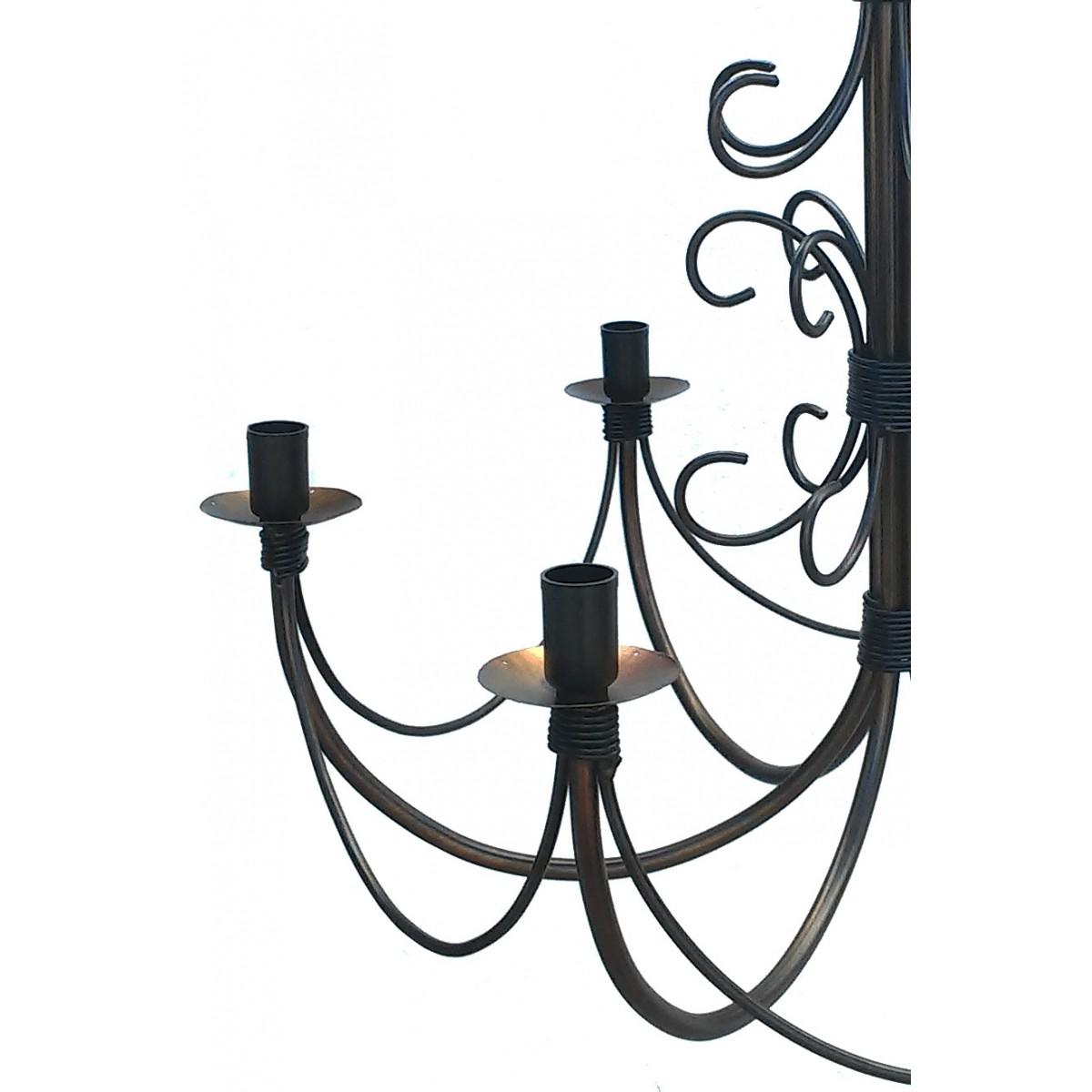 Lustre De Ferro Rustico Artesanal Para Sala de Jantar 6 Bocais E27