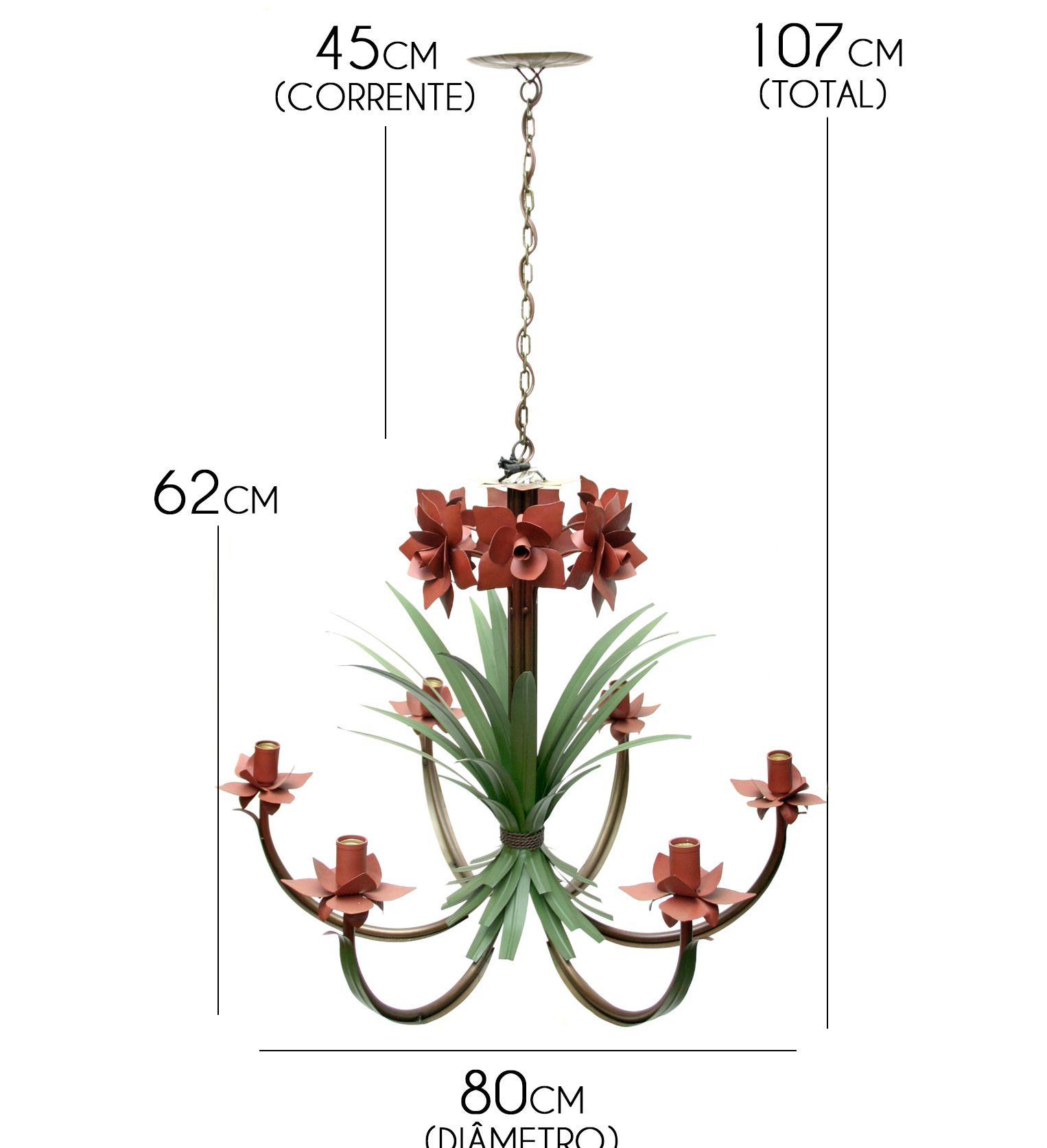 Lustre de Ferro Rústico Varanda ou Sala Clássico com Flores Artesanato Minas