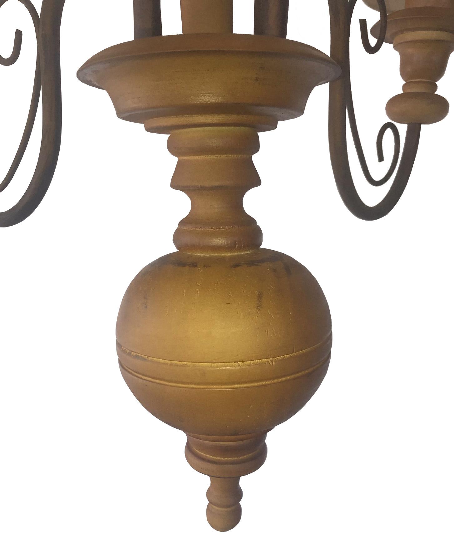 Lustre De Madeira Torneada Com Cúpulas Rustica Para Sala E Cozinha
