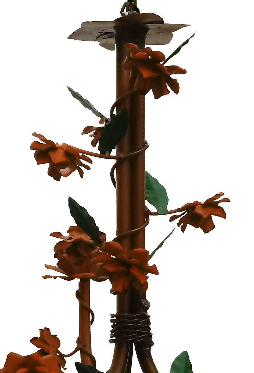 Lustre de Sala de TV Artesanal com Flores de Ferro Rustico Leve