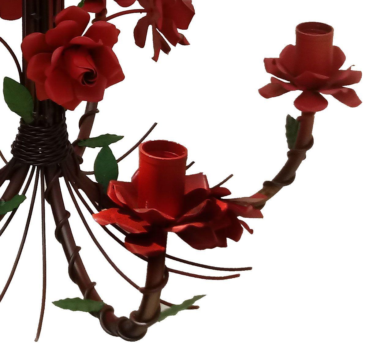 Lustre de Teto Simples Decorativo com Flores em Metal para Sala