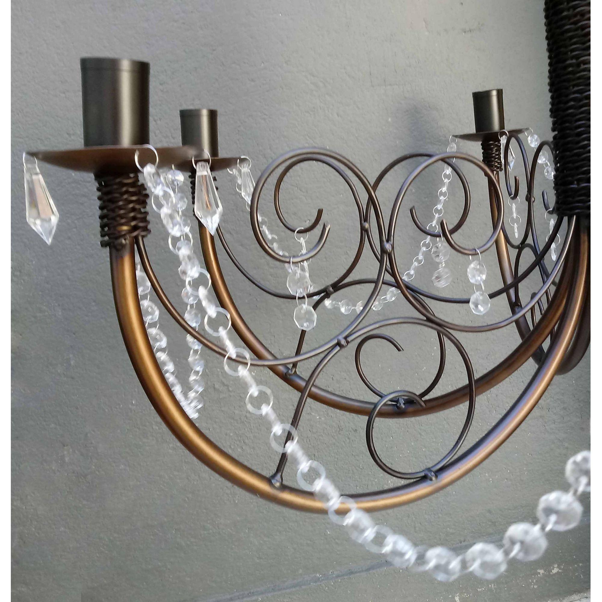 Lustre Decorativo Artesanal De Ferro Com Cristais Moderno Para Sala