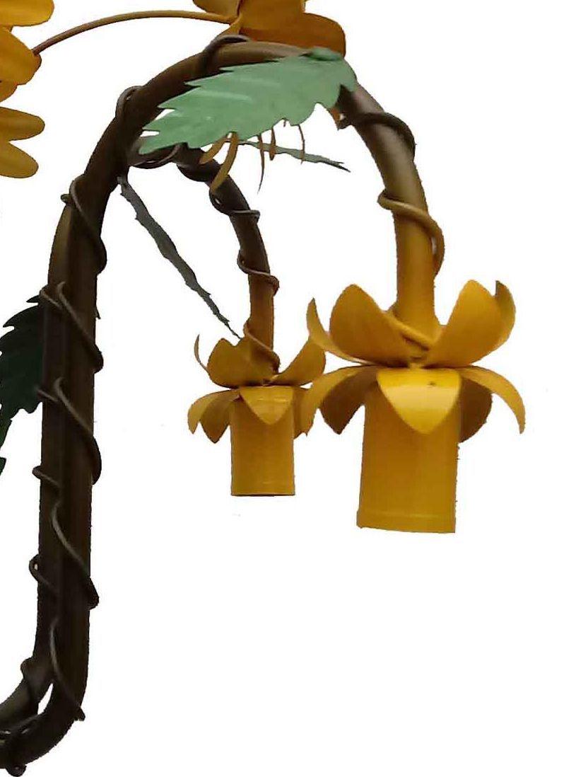 Lustre Decorativo em Ferro com Flores Artesanais Iluminação Bocal para Baixo