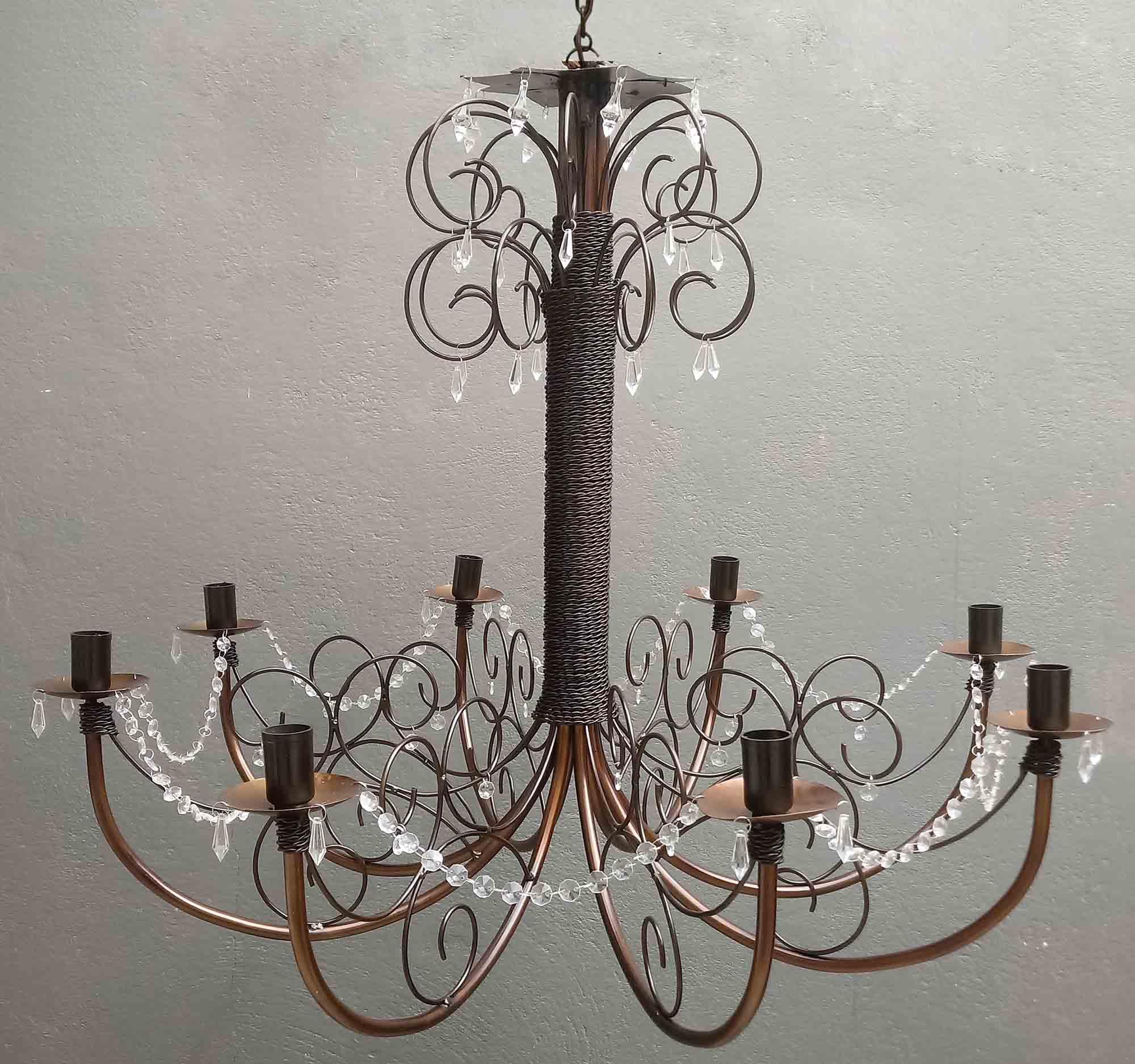 Lustre Decorativo Grande com Cristais para Iluminação Sala de Jantar