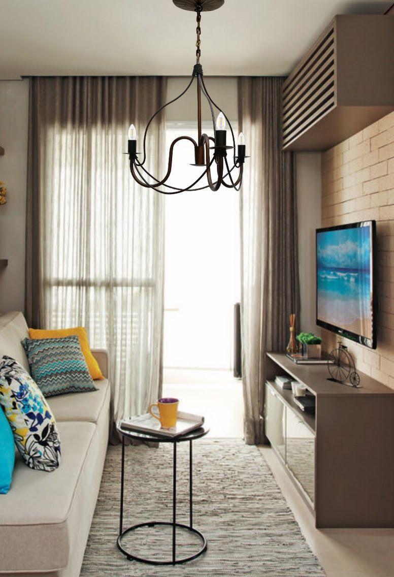 Lustre Dourado Moderno De Ferro para Iluminação Apartamento Simples