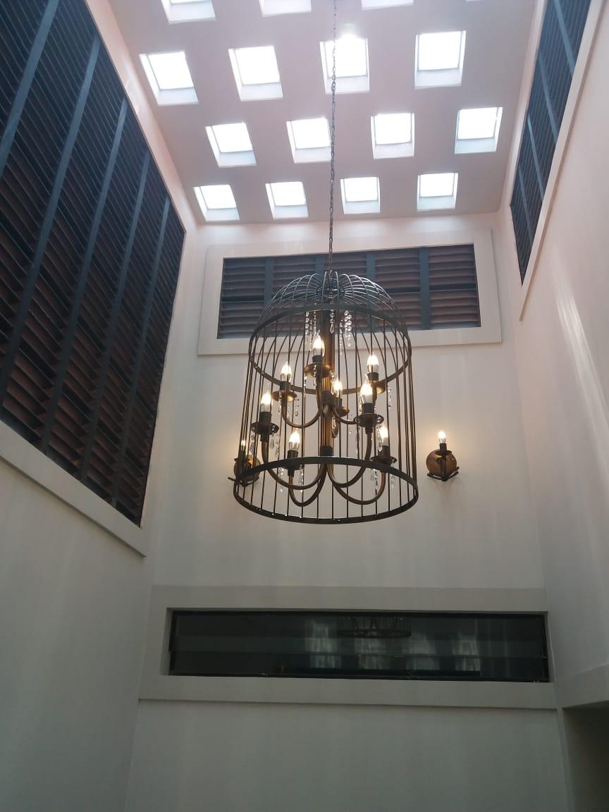 Lustre Duplo de Gaiola Artesanal para Iluminação de Ambiente Grande