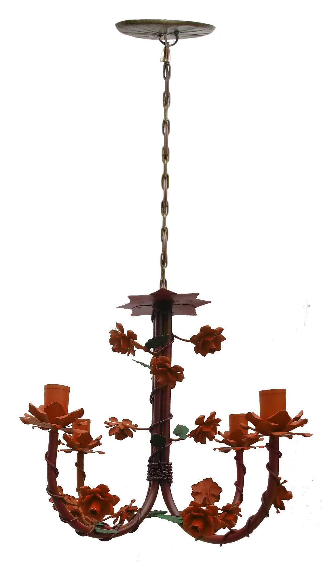 Lustre Estilo Floral De Ferro -> Lustre Para Sala De Jantar Vermelho