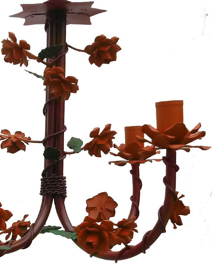 Lustre Estilo Floral de Ferro e Lata para Sala de Jantar Rustica