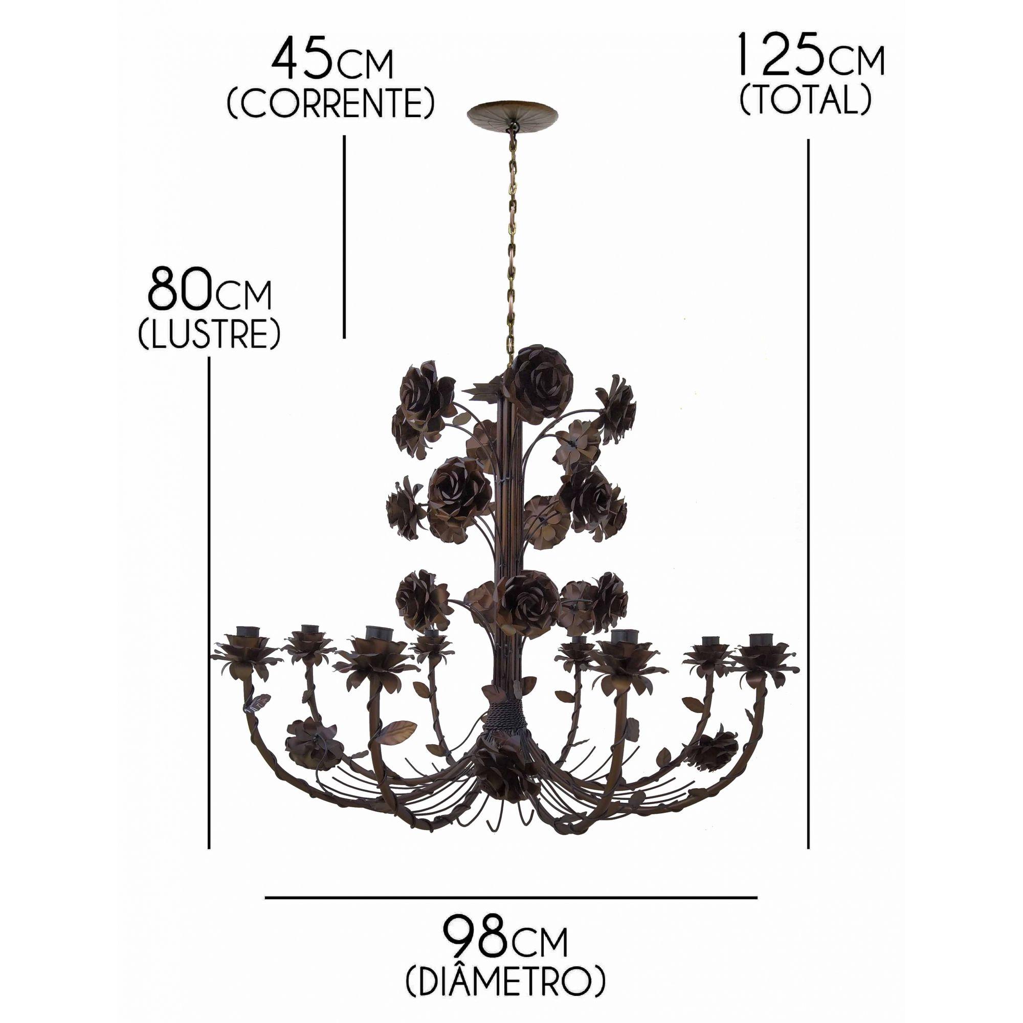 Lustre Grande de Flores Artesanais em Ferro Rustico para Festas e Eventos